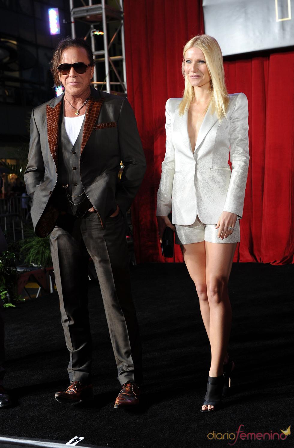 Mickey Rourke y Gwyneth Paltrow en la premiere de 'Iron Man 2'
