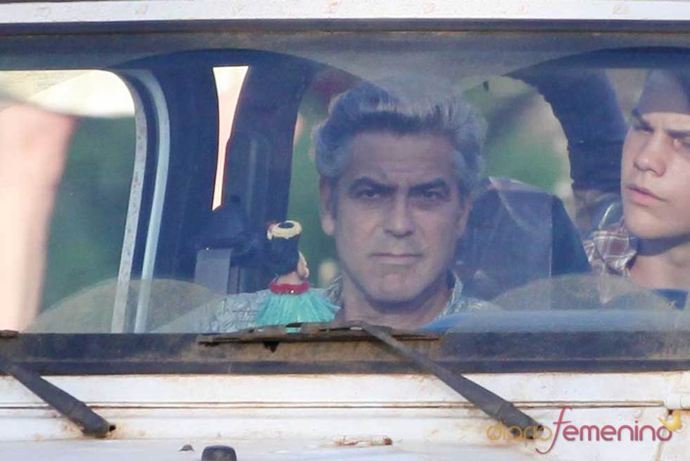 George Clooney en las grabaciones de 'The Decendants'
