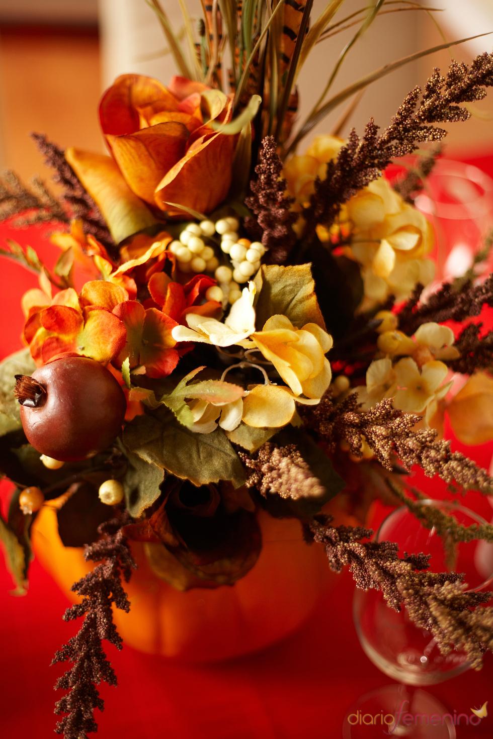 Arreglo floral con hojas secas