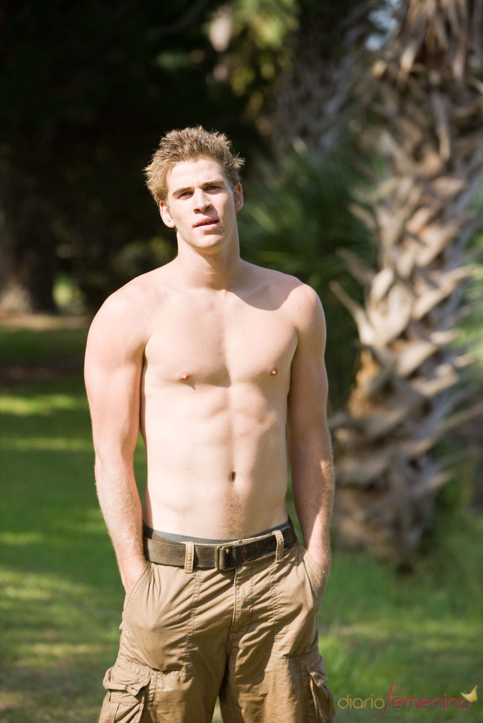 Liam Hemsworth enseña abdominales
