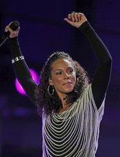 Alicia keys en el concierto previo al Mundial