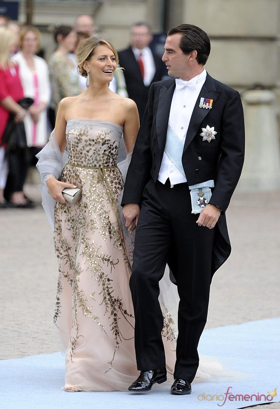 El principe Nikolaos de Grecia y Tatiana Blatnik en la boda de Victoria de Suecia