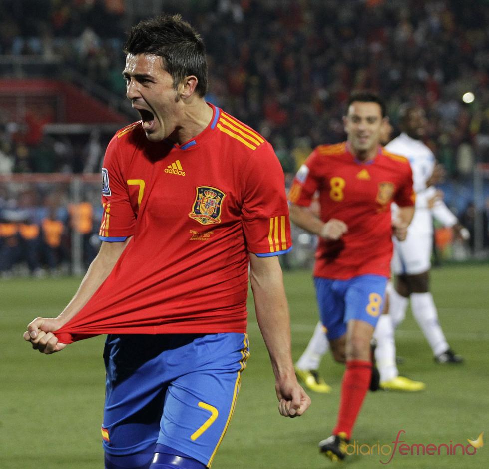 David Villa tras meter un gol