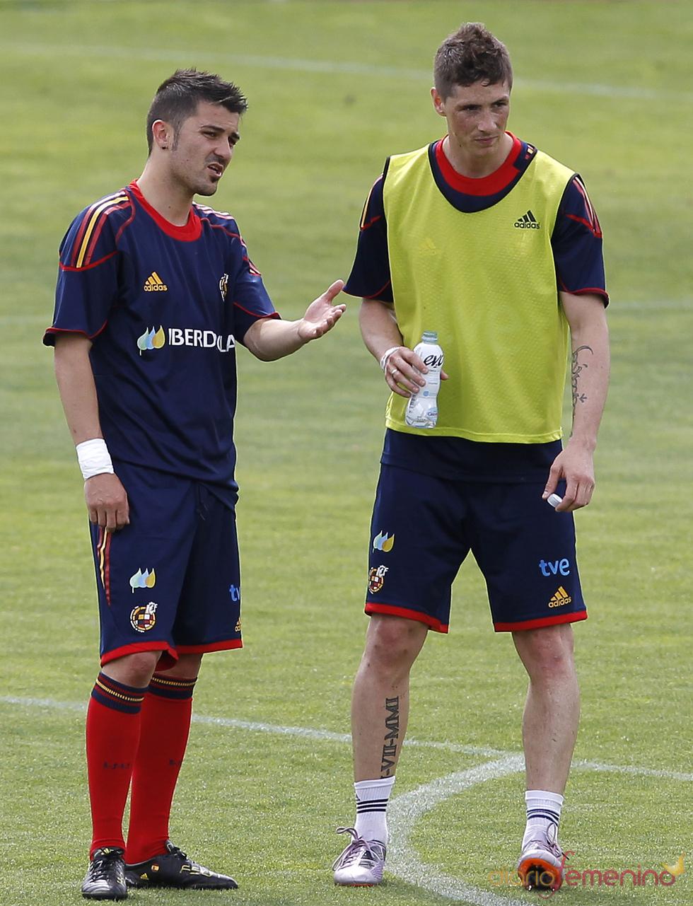 David Villa con Fernando Torres
