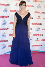 Blanca Portillo, con vestido largo azul