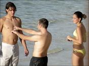 Xisca Perelló con Rafa Nadal en la playa