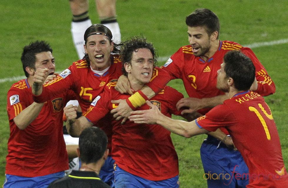Puyol celebra su gol contra Alemania
