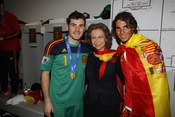 La reina Sofía con Rafa Nadal e Iker Casillas en Sudáfrica