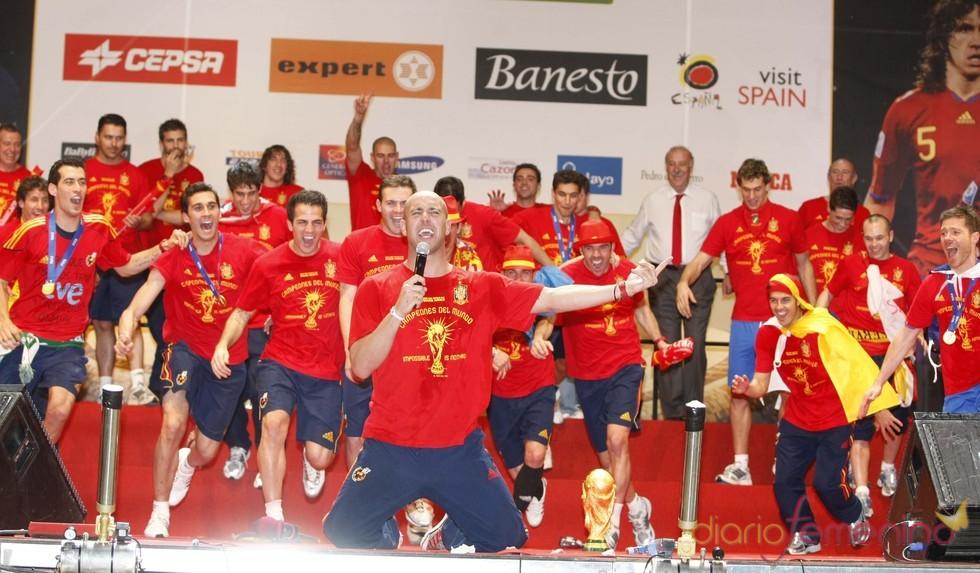 La selección española, eufórica en Madrid