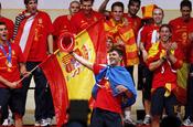 David Villa, durante la celebración del triunfo del Mundial en Madrid
