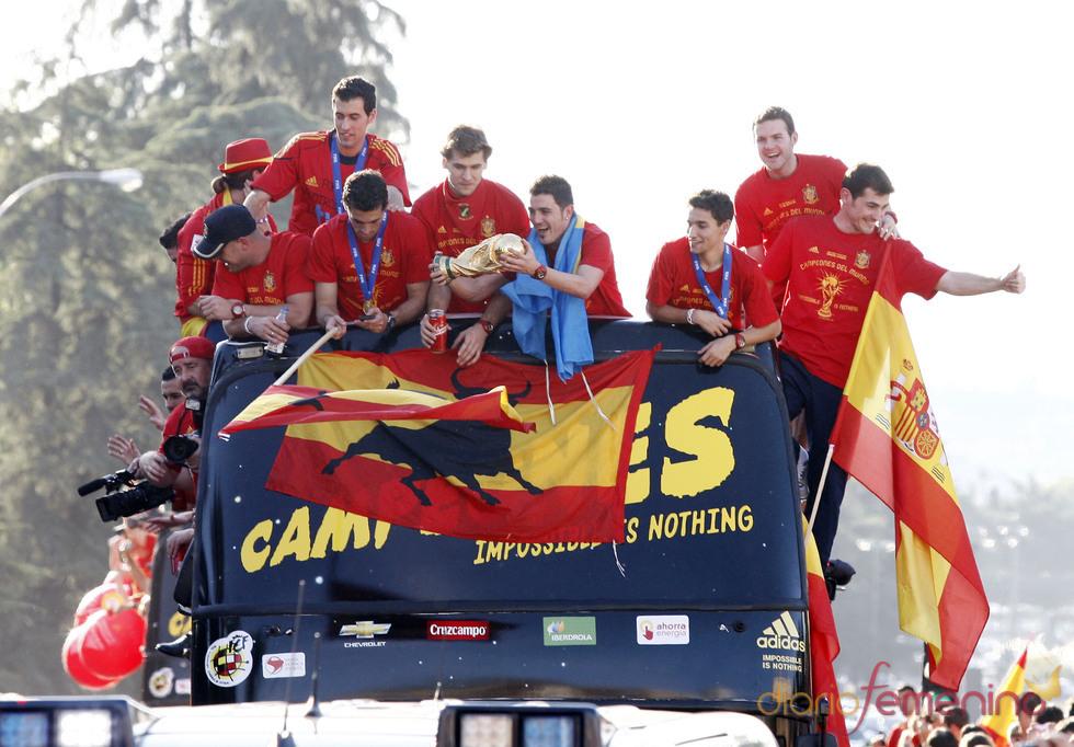 La selección española recore las calles de Madrid