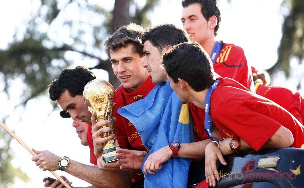 La selección española celebra con los aficionados la Copa del Mundo