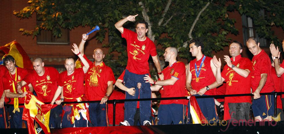 La selección española, en autobus descapotable por Madrid