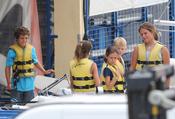 Froilán y Victoria Federica Marichalar en el puerto deportivo de Palma de Mallorca