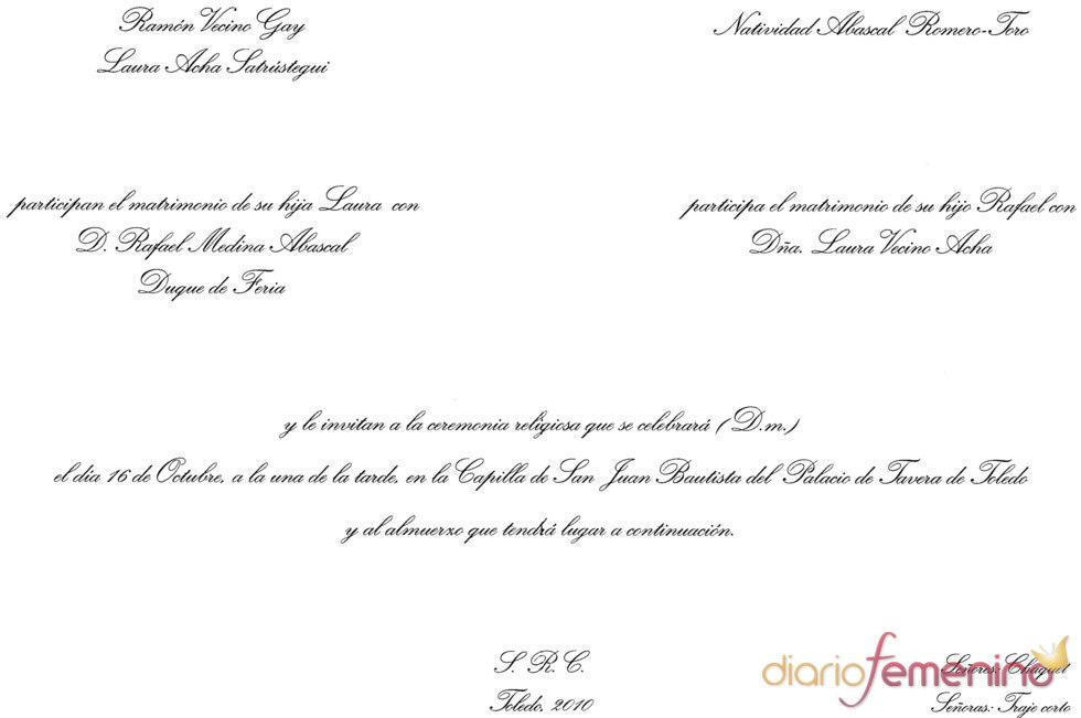 Invitación de boda de Rafael Medina y Laura Vecino