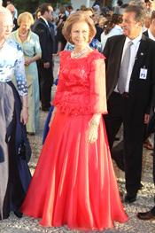 La Reina Sofía en la boda de Nicolás de Grecia