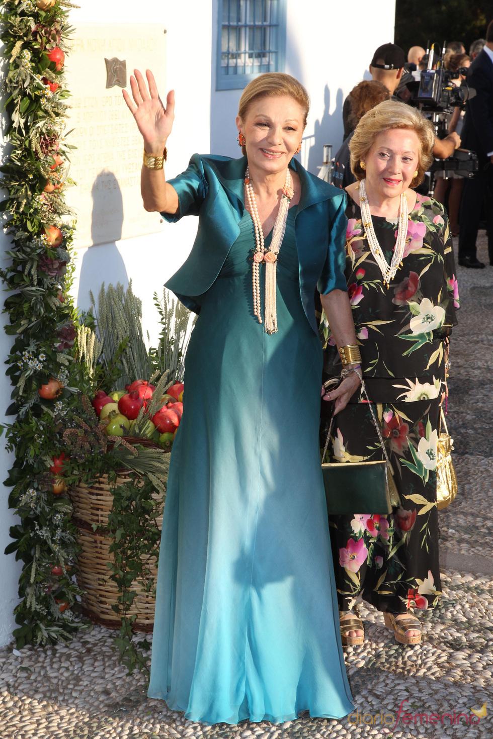 Farah Diga en la boda de Nicolás de Grecia