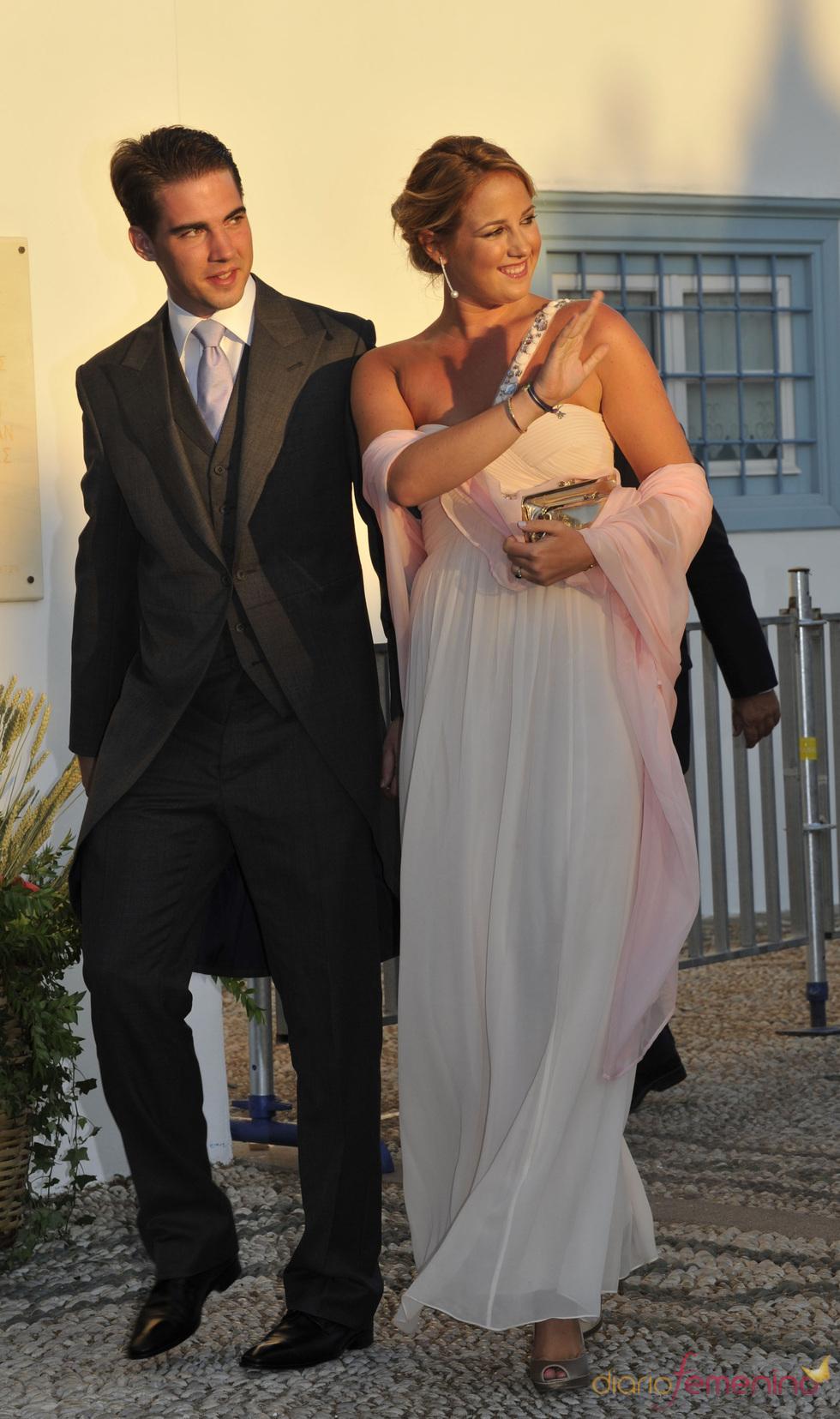 La princesa Theodora y el príncipe Philippos en la boda real griega