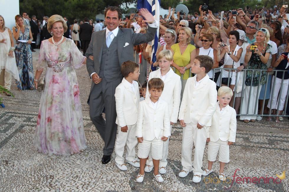 Ana María de Grecia y Nicolás el día de su boda