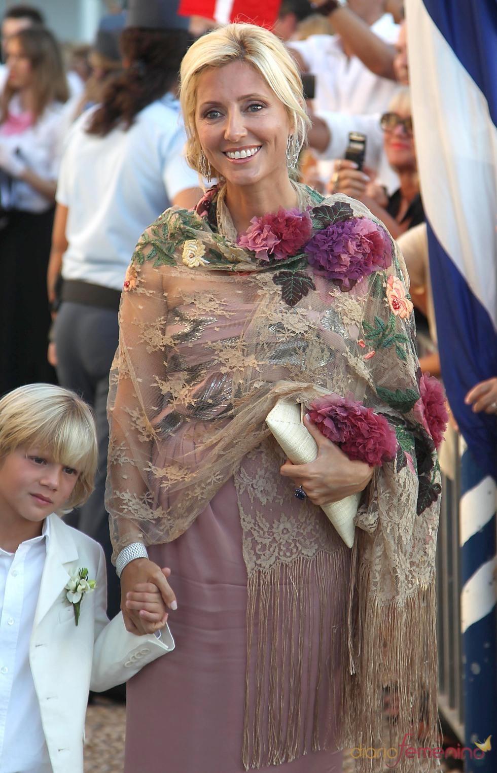 Marie Chantal Miller en la boda de Nicolás de Grecia