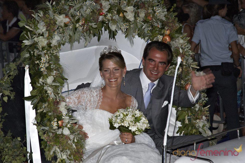 Los recién casados Nicolás de Grecia y Tatiana Blatnik