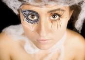 Tela de araña en los ojos para Halloween