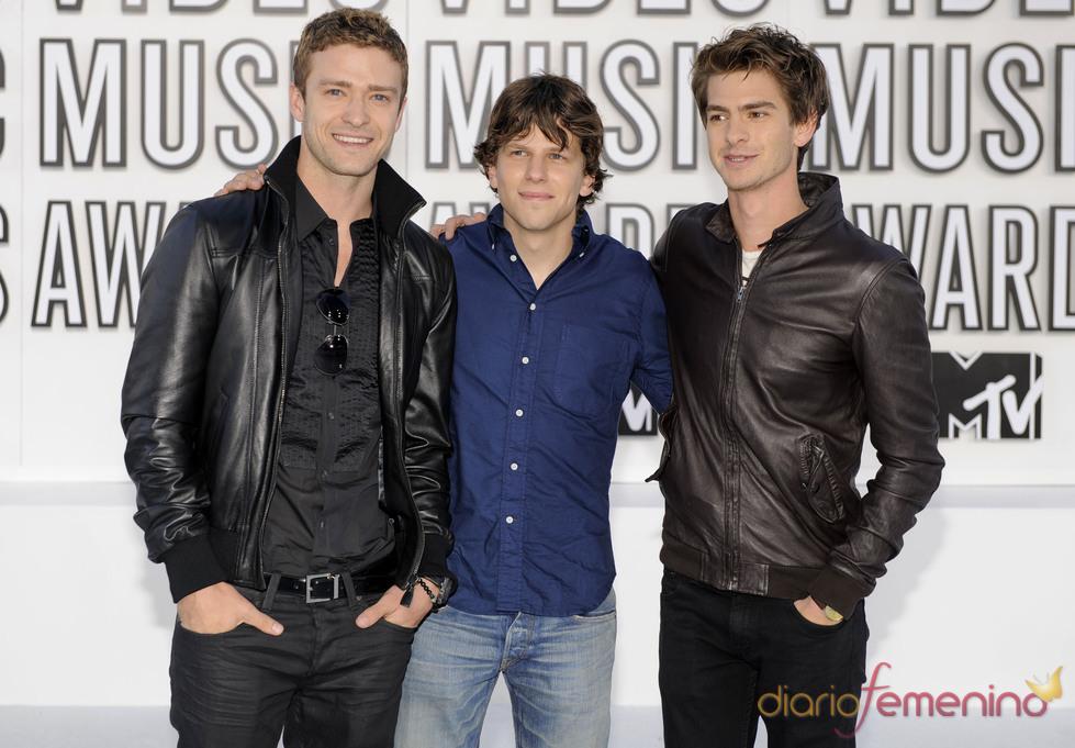 Justin Timberlake, Jesse Eisenberg y Andrew Garfield