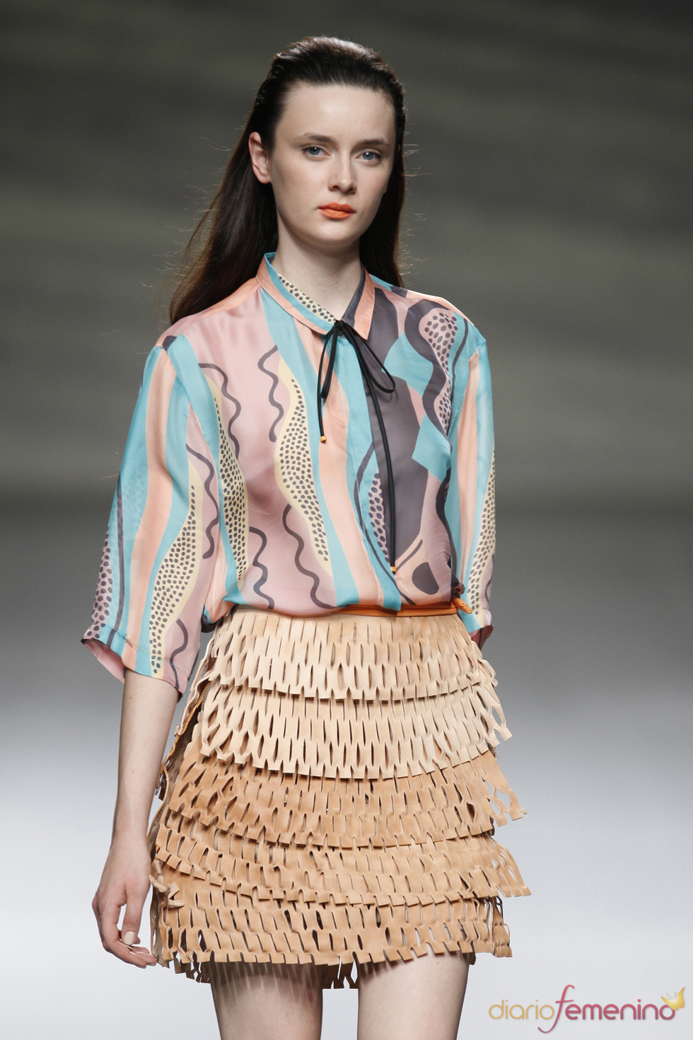 Original falda microperforada de Martin Lamothe en la Madrid Fashion Week