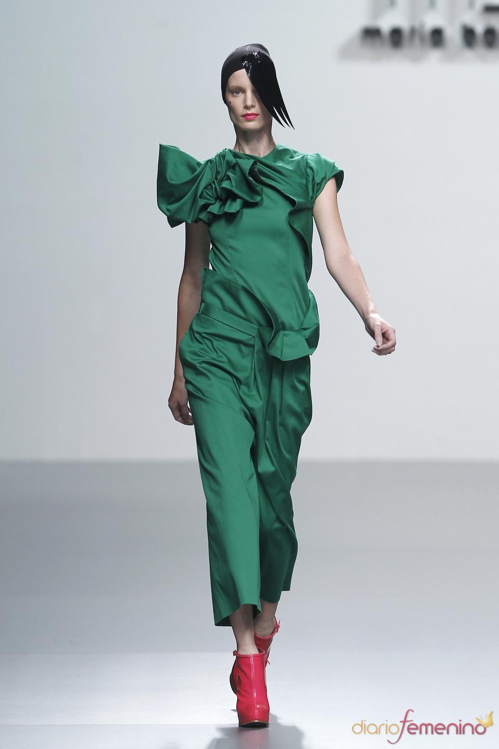 Colorido mono verde de María Barros en la Madrid Fashion Week
