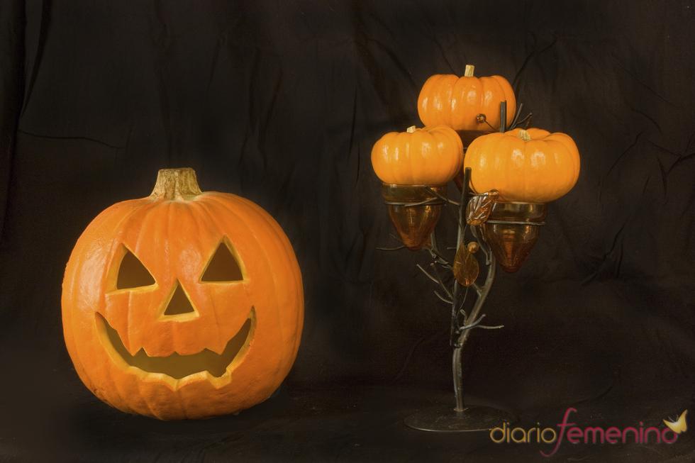 Porta velas con forma de calabazas de Halloween