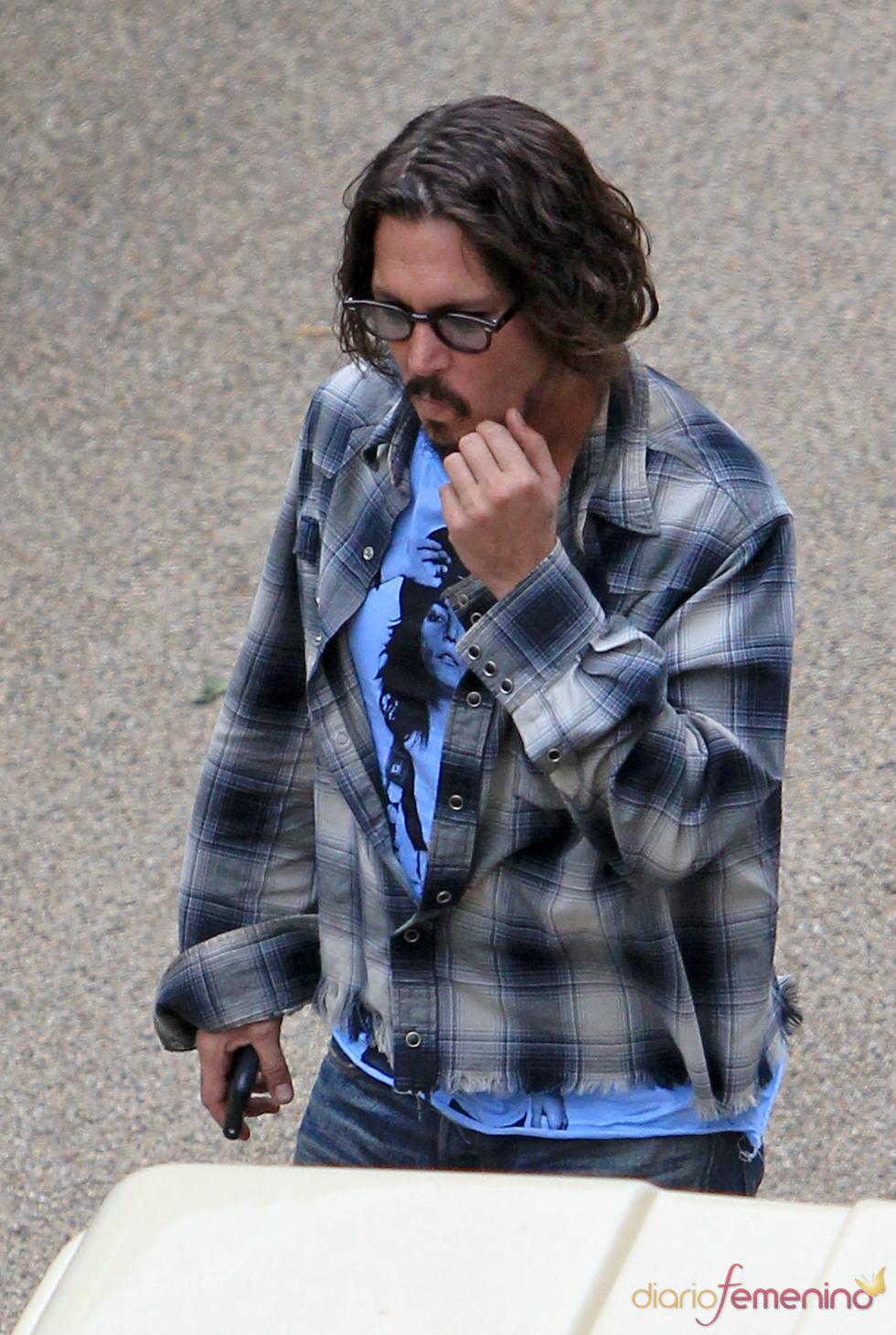 Johnny Depp en el set de rodaje de 'Piratas del Caribe 4'