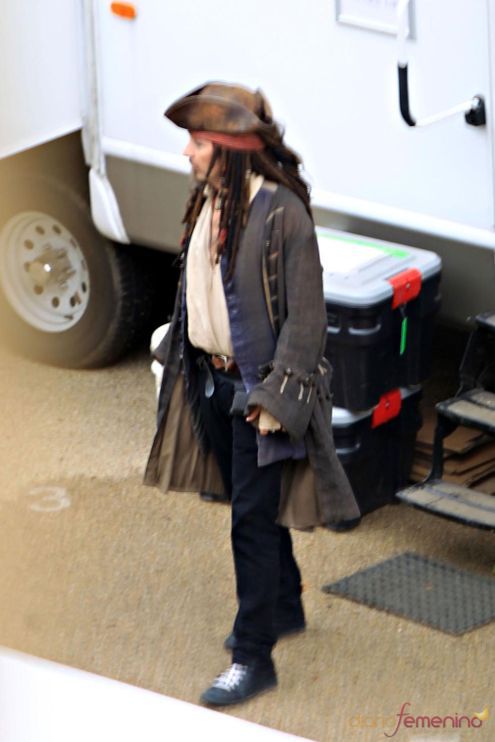 Johhny depp en la piel de Jack Sparrow para 'Piratas del Caribe 4'