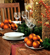 Mesa de Navidad con detalles dorados