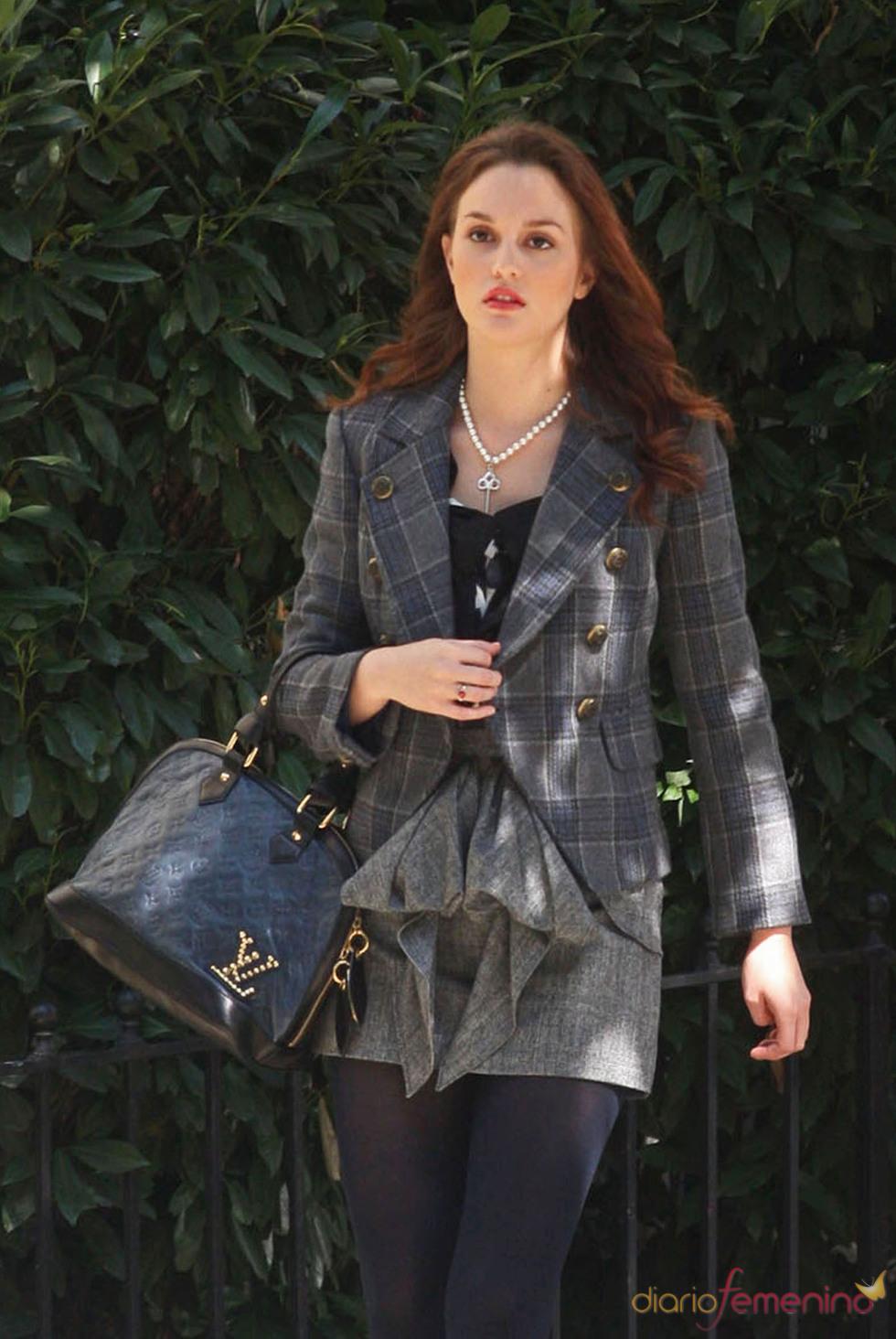 Leighton Meester durante el rodaje de la serie