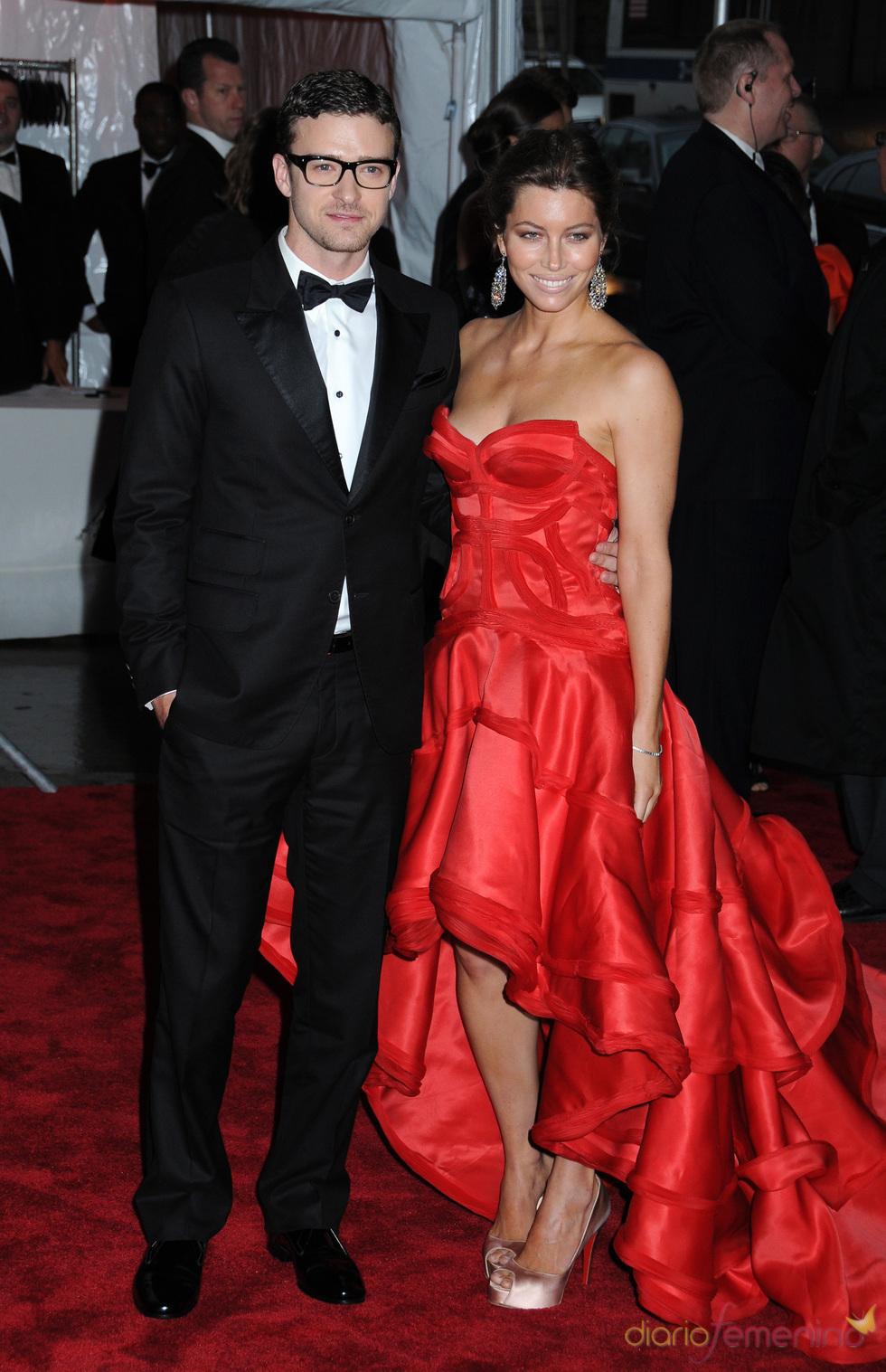 Justin Timbelake con su pareja Jessica Biel