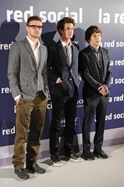 El cantante Jutin Timberlake junto a los actores Jesse Eisenberg y Andrew Garfield