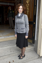 Silvia Marsó en el velatorio de Manuel Alexandre