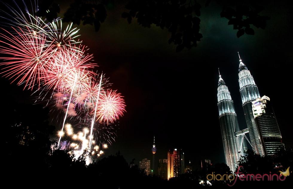 Las Torres Petronas de Kuala Lumpur en fin de año