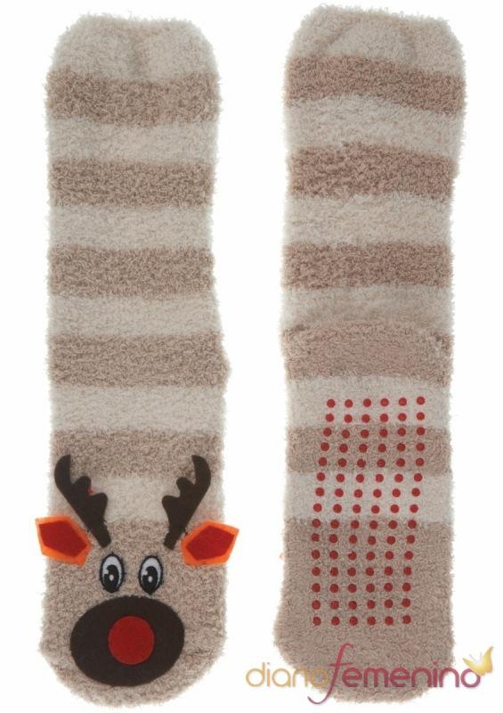 Calcetines con cabeza de reno para andar por casa de TopShop