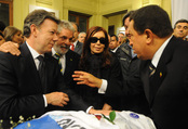 Cristina Fernández, con Lula, Hugo Chávez y Juan Manuel Santos