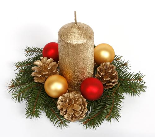 Vela dorada con arreglo floral adornos de navidad para - Centro de navidad con velas ...