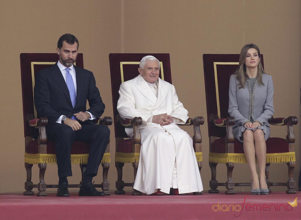 Los Príncipes de Asturias con el Papa en Santiago de Compostela