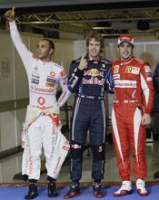 Sebastian Vettel, Hamilton y Fernando Alonso