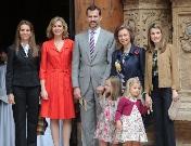 La Familia Real llega a la Catedral de Mallorca para finalizar la Pascua