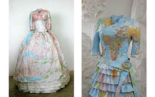 Vestidos de mapas y billetes