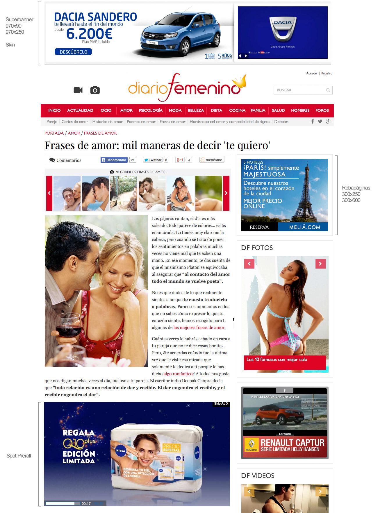 Publicidad en Diario Femenino