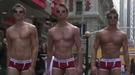 Modelos en ropa interior en Times Square