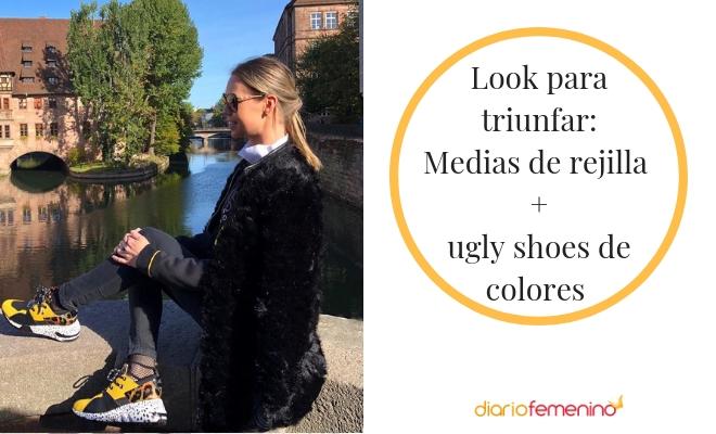 Triunfa con tu look con medias de rejilla y ugly shoes
