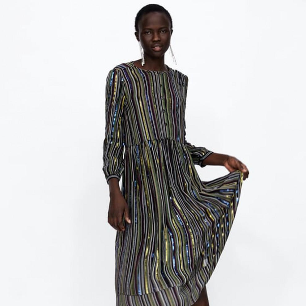 Las rayas, protagonistas del vestido de fiesta de Zara