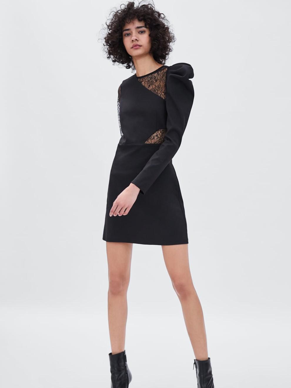Color Zara Negro Encaje Y Vestido Con De STw8qf